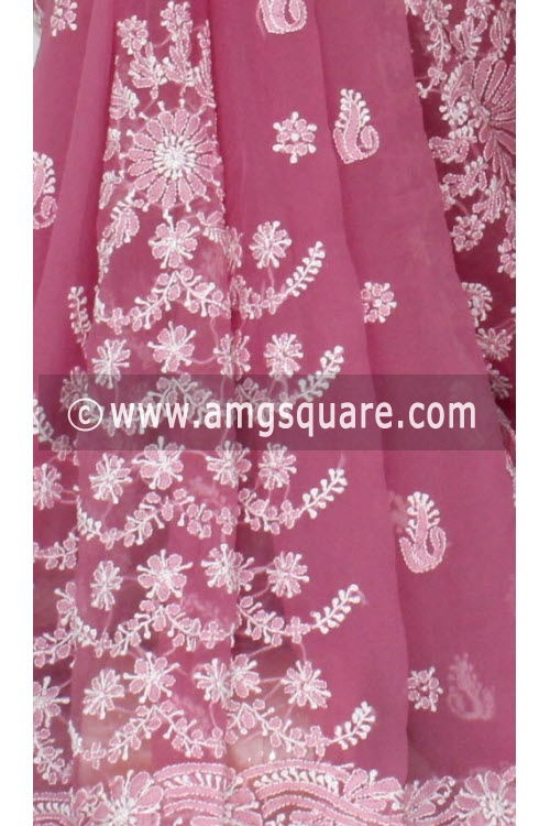 Move Designer Hand Embroidered Lucknowi Chikankari Saree (With Blouse - Georgette) 14491