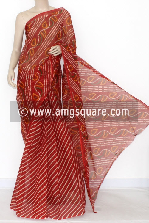 Red Laharia Premium JP Kota Doria Chunri Printed Cotton Saree (without Blouse) 15315