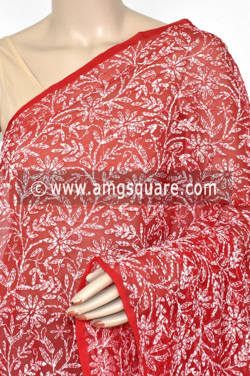 Red Hand Embroidered Allover Tepchi Work Lucknowi Chikankari Dupatta (Georgette) 17951