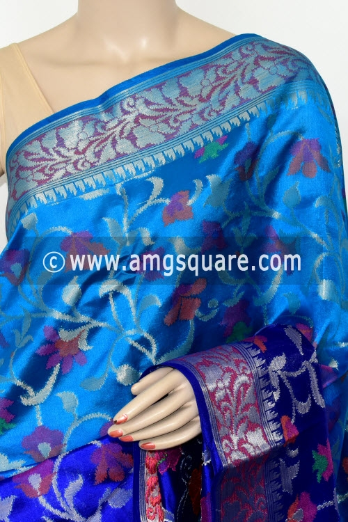 Shaded Royal Blue Handloom Katan Pure Silk Saree (With Blouse) Allover Resham Weaving Zari Border 16270
