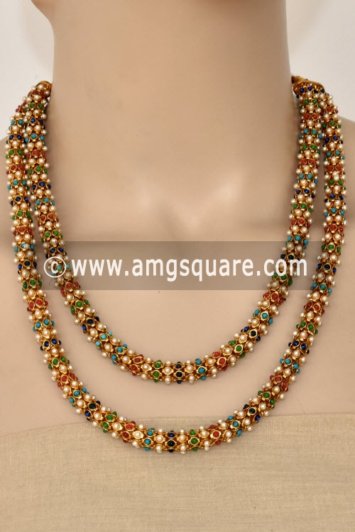 Multi-Color Bead Mala with Embedded Pearl (With Earrings) 12760