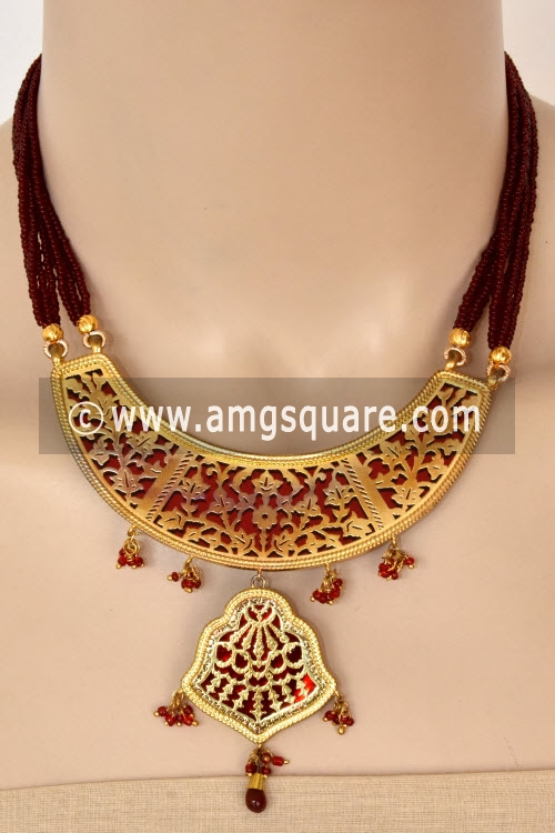 Maroon Traditional Thewa Pendant Set 11211