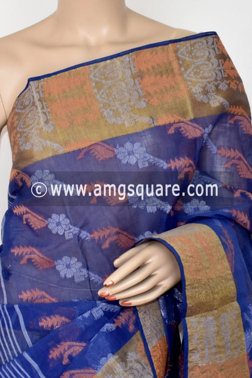 Ink Blue Handwoven Bengal Jamdani Tant Cotton Saree (Without Blouse) 14288