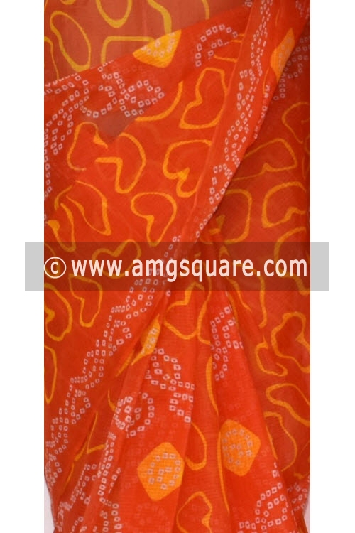 Orange JP Kota Doria Chunri Print Cotton Saree (without Blouse) 15336