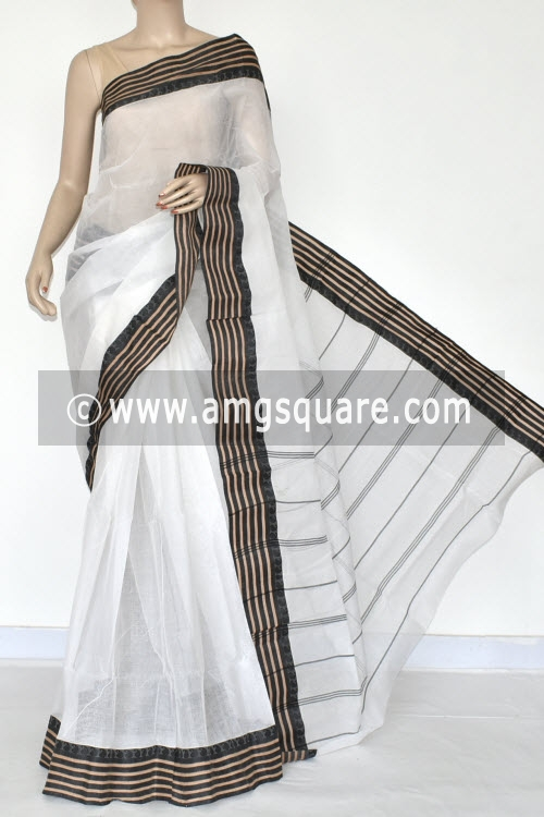 White Handwoven Bengal Tant Cotton Saree (Without Blouse) 17050