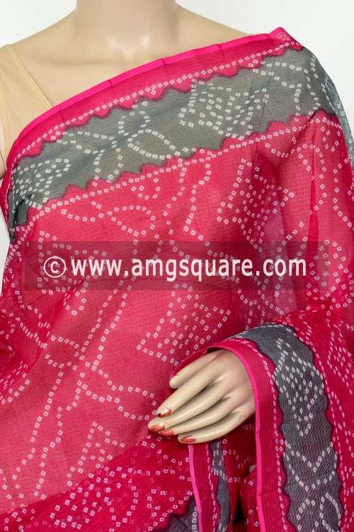 Rani Pink Premium JP Kota Doria Chunri Print Cotton Saree (without Blouse) 15434