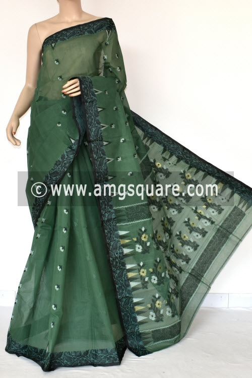Bottle Green Handwoven Bengal Tant Cotton Saree (Without Blouse) Resham Border 17403