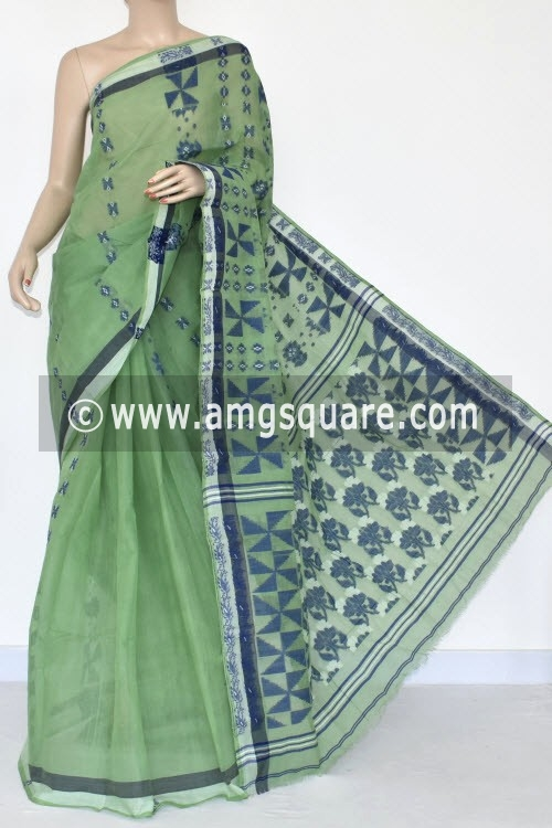 Pista Green Handwoven Bengal Tant Cotton Saree (Without Blouse) 14171