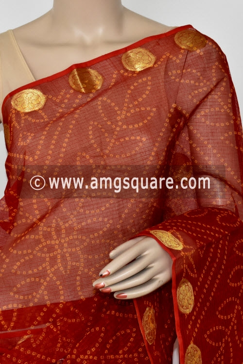 Red Chunri Print JP Kota Doria Cotton Saree (without Blouse) Zari Border and Pallu 13544