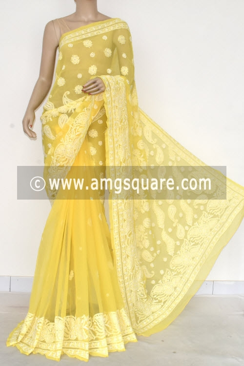 Deep Yellow Hand Embroidered Lucknowi Chikankari Saree (With Blouse - Georgette) 14577