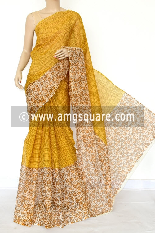 Mustared Yellow Premium JP Kota Doria Printed Cotton Saree (without Blouse) Hal-Half 15442