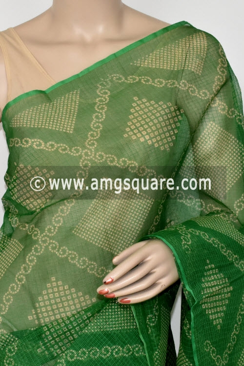 Green Chunri Print JP Kota Doria Cotton Saree (without Blouse) 13542