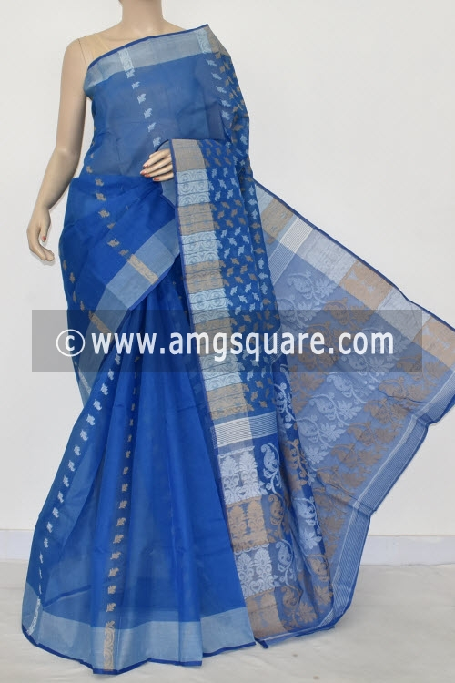 Blue Handwoven Bengal Tant Cotton Saree (Without Blouse) 16982