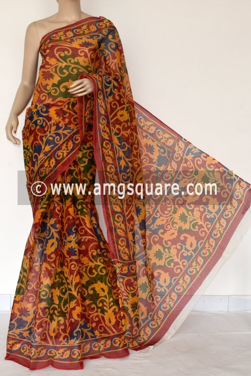 Maroon Premium JP Kota Doria Printed Cotton Saree (without Blouse) 15383
