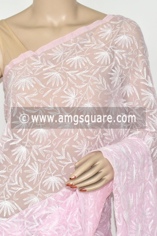 Baby Pink Hand Embroidered Allover Tepchi Work Lucknowi Chikankari Saree (Georgette) 14687