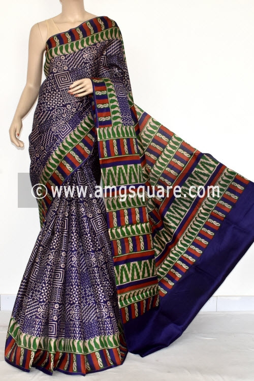Blue Tusser Art Silk Printed Saree (With Blouse) 13447