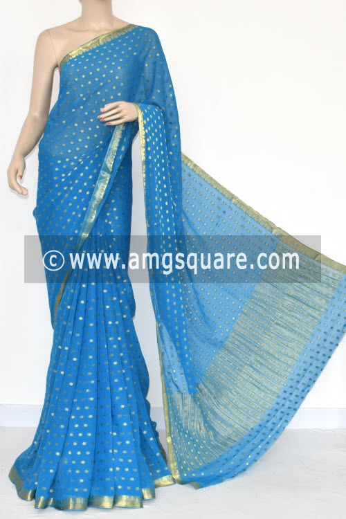 Pherozi Blue Handloom Semi-Chiffon Saree (with Blouse) Allover Zari Border and Booti 16207