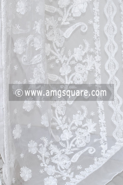 White Hand Embroidered Lucknowi Chikankari Saree (With Blouse - Georgette) 14615