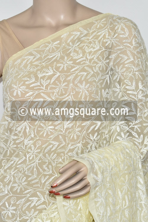 Cream Hand Embroidered Allover Tepchi Work Lucknowi Chikankari Saree (Georgette) 14878