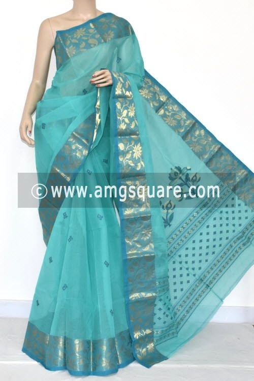 Green Handwoven Bengal Tant Cotton Saree (Without Blouse) Zari Border 17112