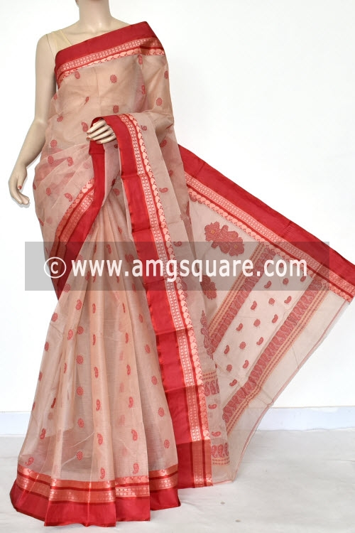 Light Biscuit Red Handwoven Bengal Tant Cotton Saree (Without Blouse) Allover Booti 17237