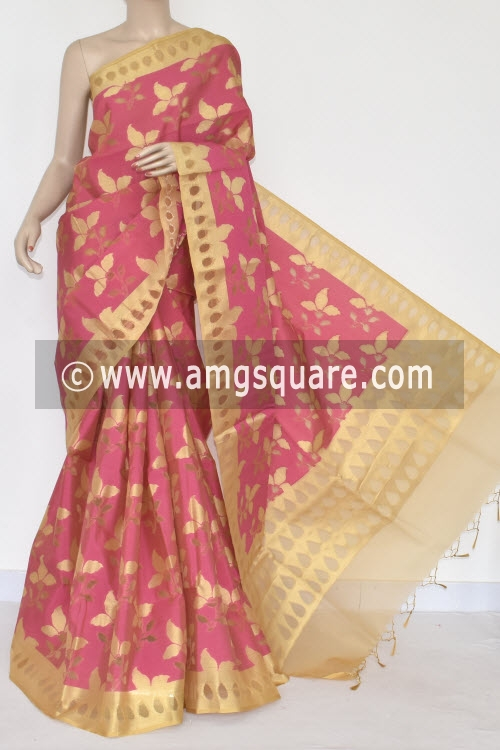 Peach Allover Golden Booti Banarasi Kora Cot-Silk Handloom Saree (With Blouse) Zari Border 16127