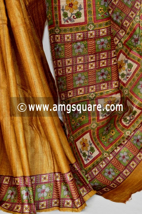 Fawn Mustared Handloom Ghicha Pure Silk Half-Half Saree (With Blouse) 17281