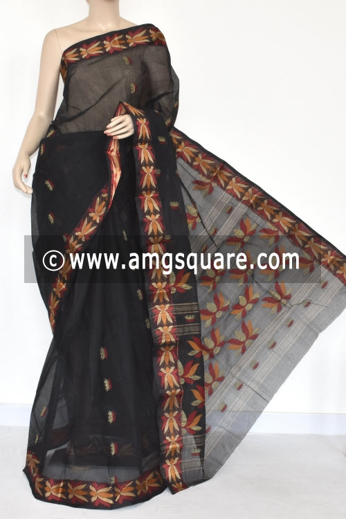 Black Resham Border Handwoven Bengal Tant Cotton Saree (Without Blouse) 17251