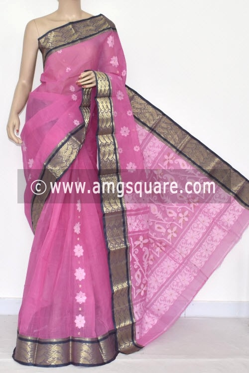 Pink Handwoven Bengal Tant Cotton Saree (Without Blouse) Zari Border 14137