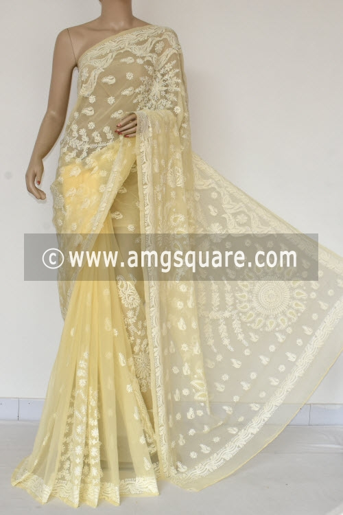Beige Hand Embroidered Lucknowi Chikankari Saree (With Blouse - Georgette) 14490
