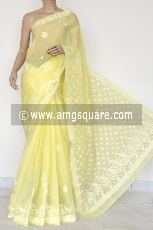 Lemon Yellow Hand Embroidered Lucknowi Chikankari Saree (With Blouse - Cotton) 14719