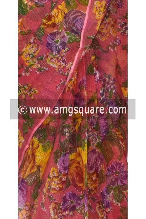 Peach JP Kota Doria Printed Cotton Saree (without Blouse) 15318