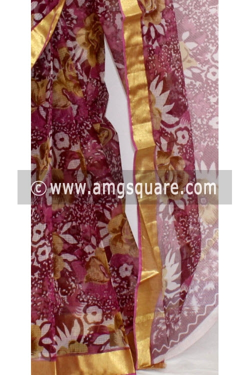 Purple JP Kota Doria Printed Cotton Saree (without Blouse) Zari Border 13553