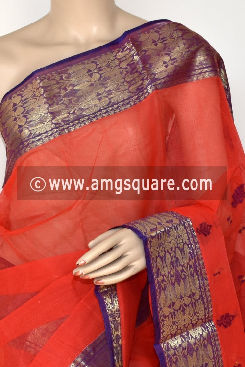 Pista Green Handwoven Bengali Tant Cotton Saree (Without Blouse) 14206