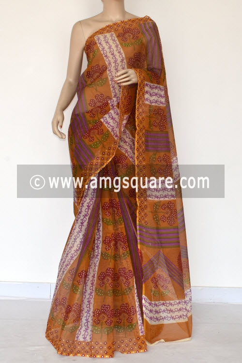 Mustared Yellow Maroon Premium JP Kota Doria Printed Cotton Saree (without Blouse) 15376