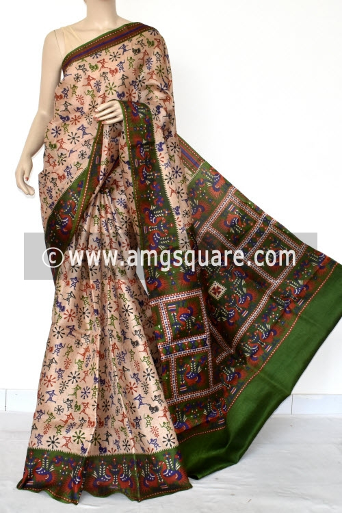 Fawn Tusser Art Silk Printed Saree (With Blouse) 13463