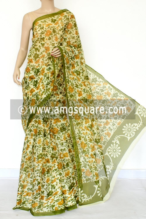Menhdi Green Mustared Premium JP Kota Doria Floral Print Cotton Saree (without Blouse) 15436