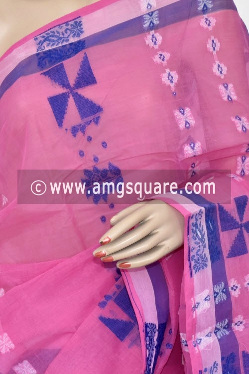 Pink Handwoven Bengal Tant Cotton Saree (Without Blouse) 14165