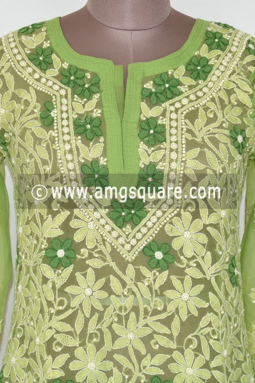 Menhdi Green Hand Embroidered Lucknowi Chikankari Long Kurti (Georgette) Bust-38 inch 17897