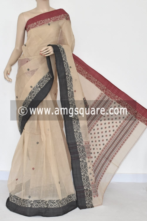 Beige Handwoven Bengal Tant Cotton Saree (With Blouse) Ganga Yamuna Border 17031
