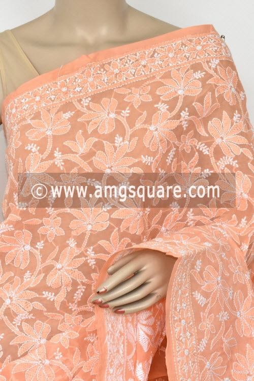 Light Peach Hand Embroidered Lucknowi Chikankari Saree (With Blouse - Cotton) Half Jaal 14750