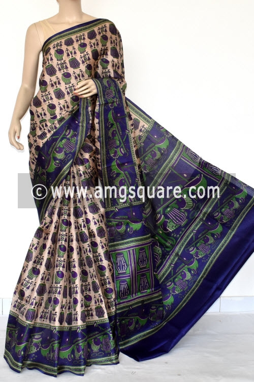 Blue Tusser Art Silk Printed Saree (With Blouse) 13458