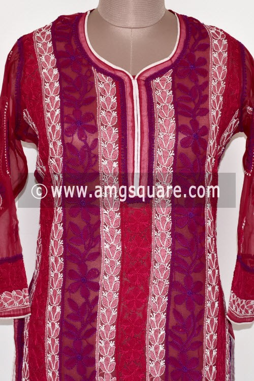 Maroon Hand Embroidered Lucknowi Chikankari Long Kurti (Georgette) Bust-44 inch 17894