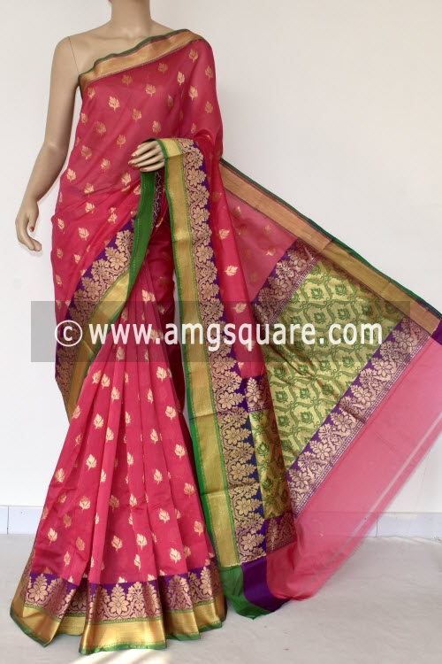 Pink Green Handloom Chanderi Cotton Saree (with Blouse) Allover Resham Weaving 16211
