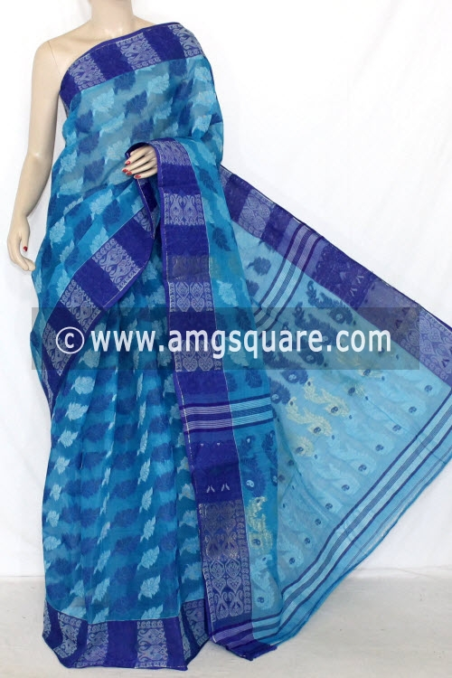 Blue Handwoven Bengal Jamdani Tant Cotton Saree (Without Blouse) 14295