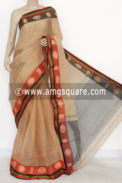 Fawn Handwoven Bengal Tant Cotton Saree (Without Blouse) Ganga Yamuna Border 14262