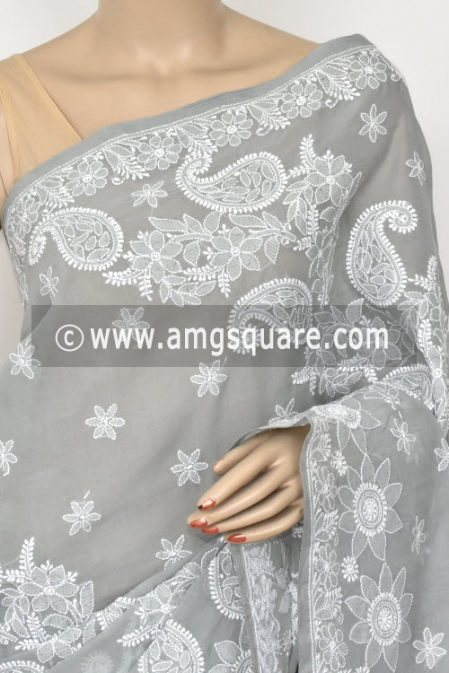 Grey Hand Embroidered Lucknowi Chikankari Saree (With Blouse - Cotton) Half Jaal 14867