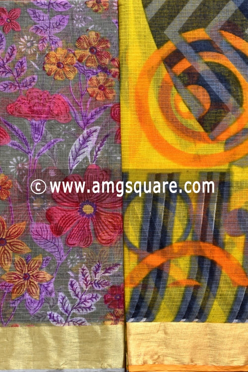 Grey and Yellow Allover Floral Printed JP Kota Sarees (Set of Two Sarees) 16005