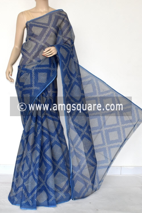 Blue Chunri Print Premium JP Kota Doria Cotton Saree (without Blouse) 13540