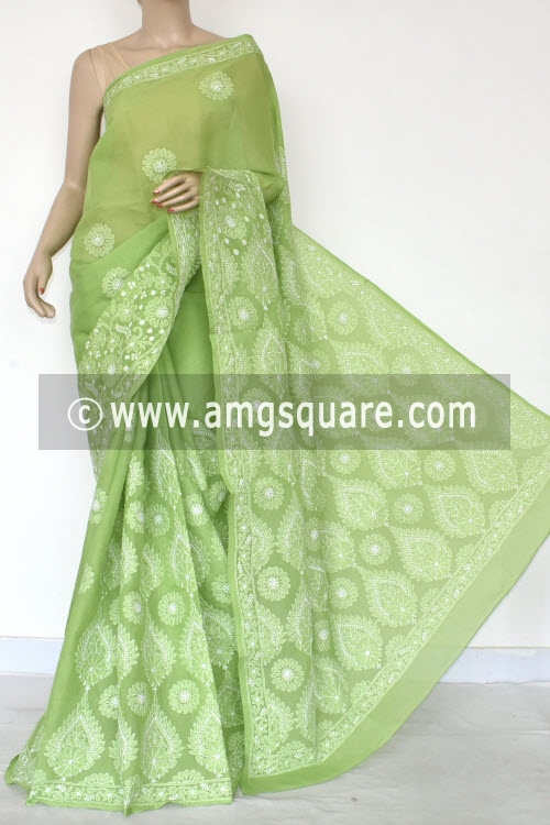 Menhdi Green Hand Embroidered Lucknowi Chikankari Saree (With Blouse - Cotton)  Heavy Skirt and Rich Pallu 14756